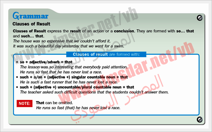 Module (4a) Clauses result page